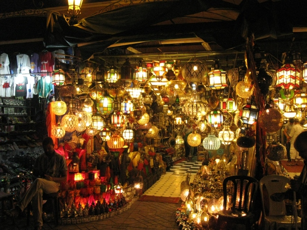 Lantern shop at night in the Djema el-Fna, Marrakech